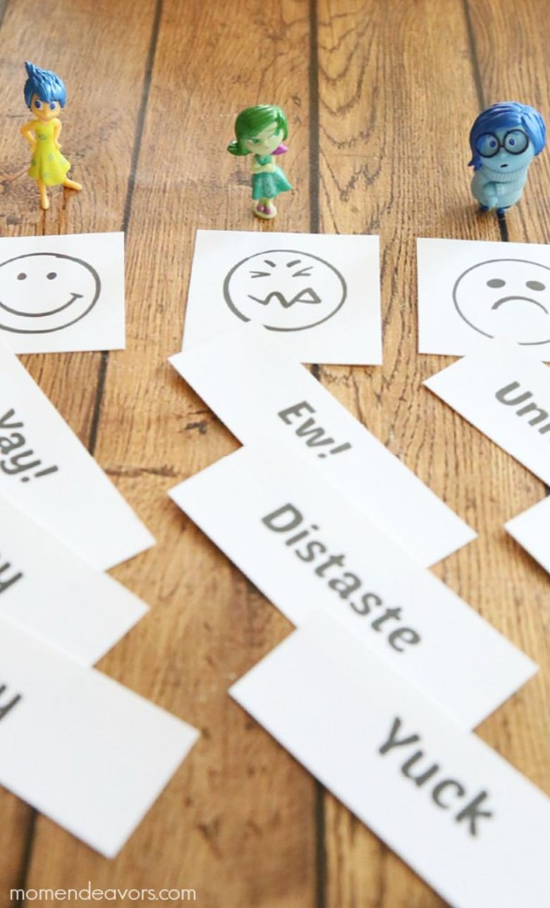 printable games for kids - emotions sorting game