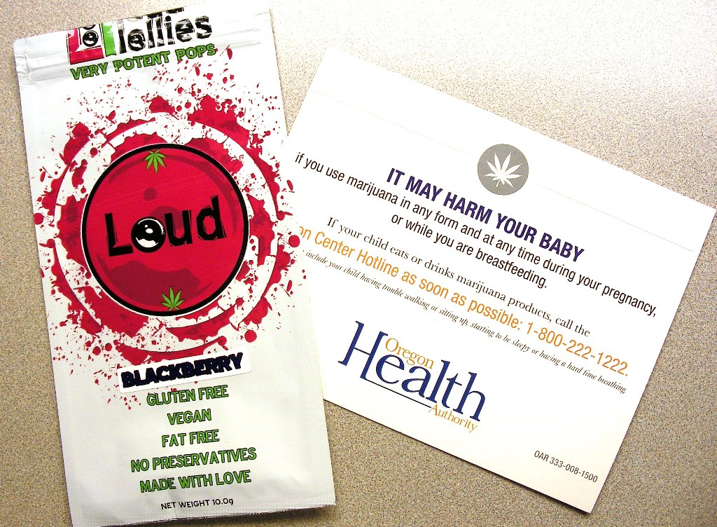 Loudlollies package and Oregon Health Authority warning card