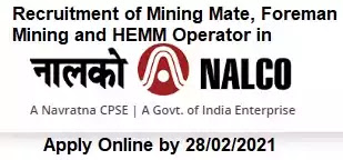 Mines Staff Vacancy Recruitment in NALCO 2021