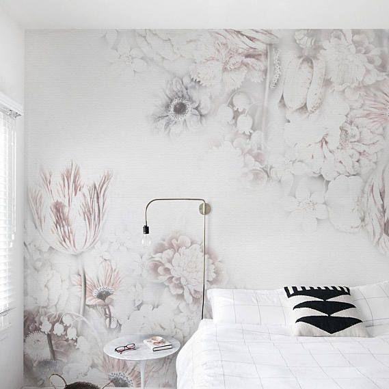 Wallpaper Dinding Kamar Tidur Perempuan Motif Bunga