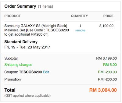 Samsung GALAXY S8 Malaysia Price Tesco Lazada Voucher Code Discount