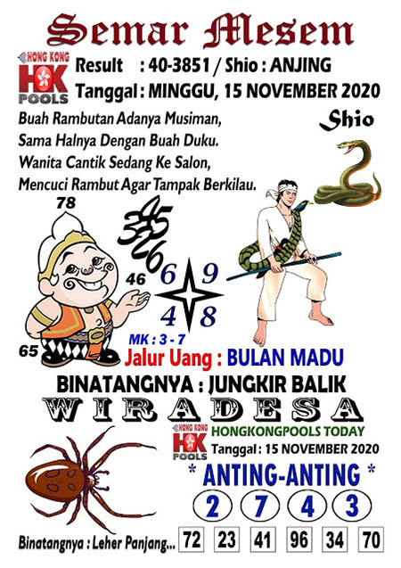 Syair Semar Mesem HK Minggu 15 November 2020