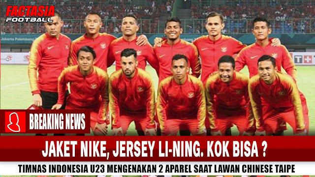 Jaket Nike, Jersey Li-Ning | Timnas Pakai 2 Aparel pada satu laga vs Chinese Taipe