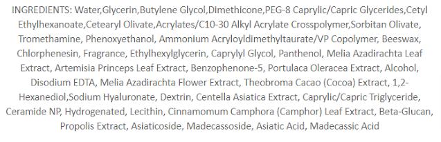 VT Cosmetics Cica Cream Ingredients