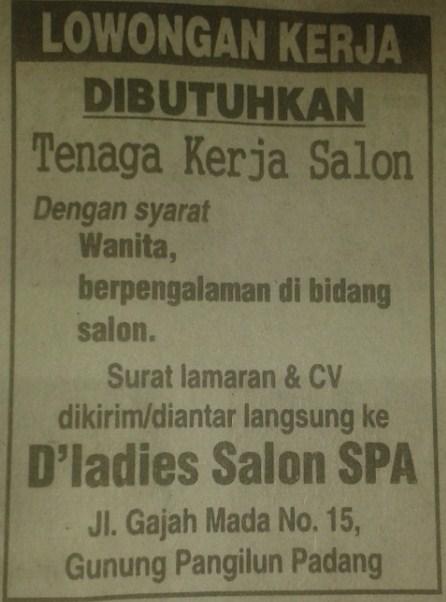 Lowongan Kerja di Padang – D'Ladies Salon SPA – Tenaga Kerja (Agustus 2016)