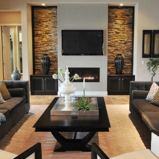 10 افكار لاختيار الحجر المناسب  لجدران صالات الجلوس