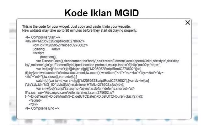 Memasang Kode Script Iklan MGID