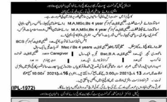 govt-postgraduate-college-for-women-lahore-jobs-2021-advertisement
