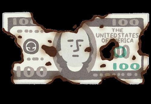焦げたお金のイラスト(ドル)