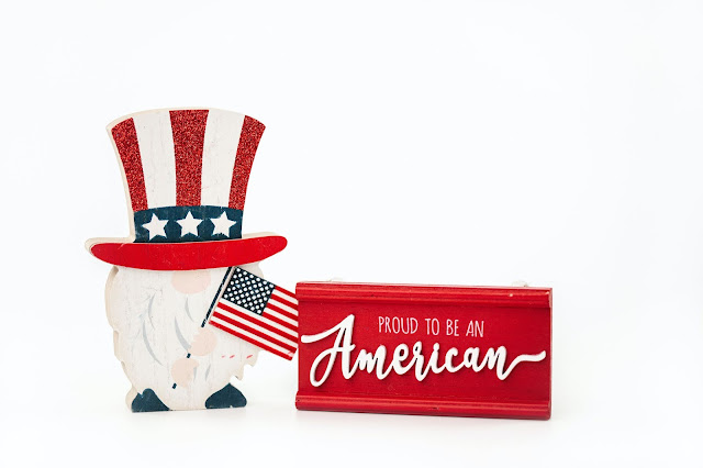Display items for the Fourth of July celebrations.
