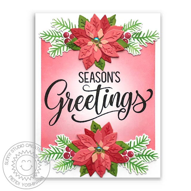 Sunny Studio Stamps: Season's Greetings Holiday Christmas Card (using Layered Poinsettia Dies)