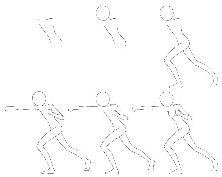 Anime punching pose menggambar langkah demi langkah