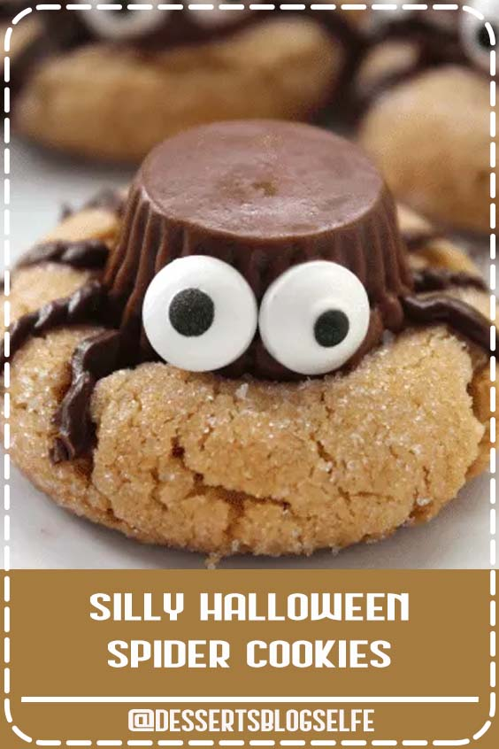 This fun and silly Halloween Spider Cookies Recipe features miniature Reese's Peanut Butter Cups for a yummy cookie ready to be the star of any Halloween party! #DessertsBlogSelfe #Cookies #Recipe #FallDesserts #halloween