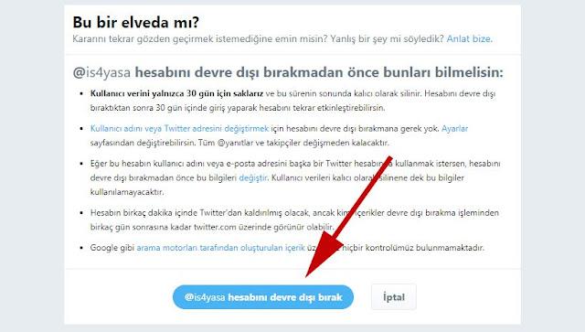 Twitter hesabını devre dışı bırak