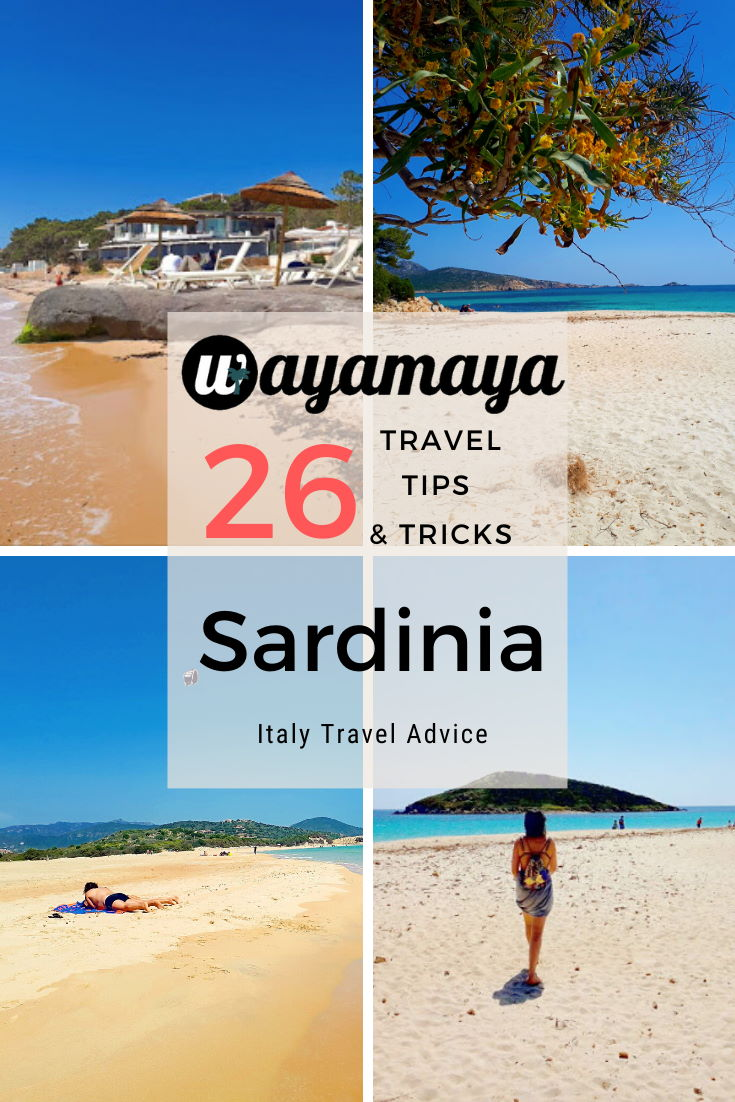 Wayamaya Sardinia travel guide. 26 useful Sardinia travel tips and tricks in Italy Sardinia travel advice article: why visit Sardinia, traveling to Sardinia island, what to avoid in Sardinia, Sardinian transport & driving, Sardinian food & cuisine, interesting facts about Sardinia. Blog.