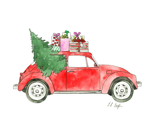 Watercolor Red Christmas Car Painting
