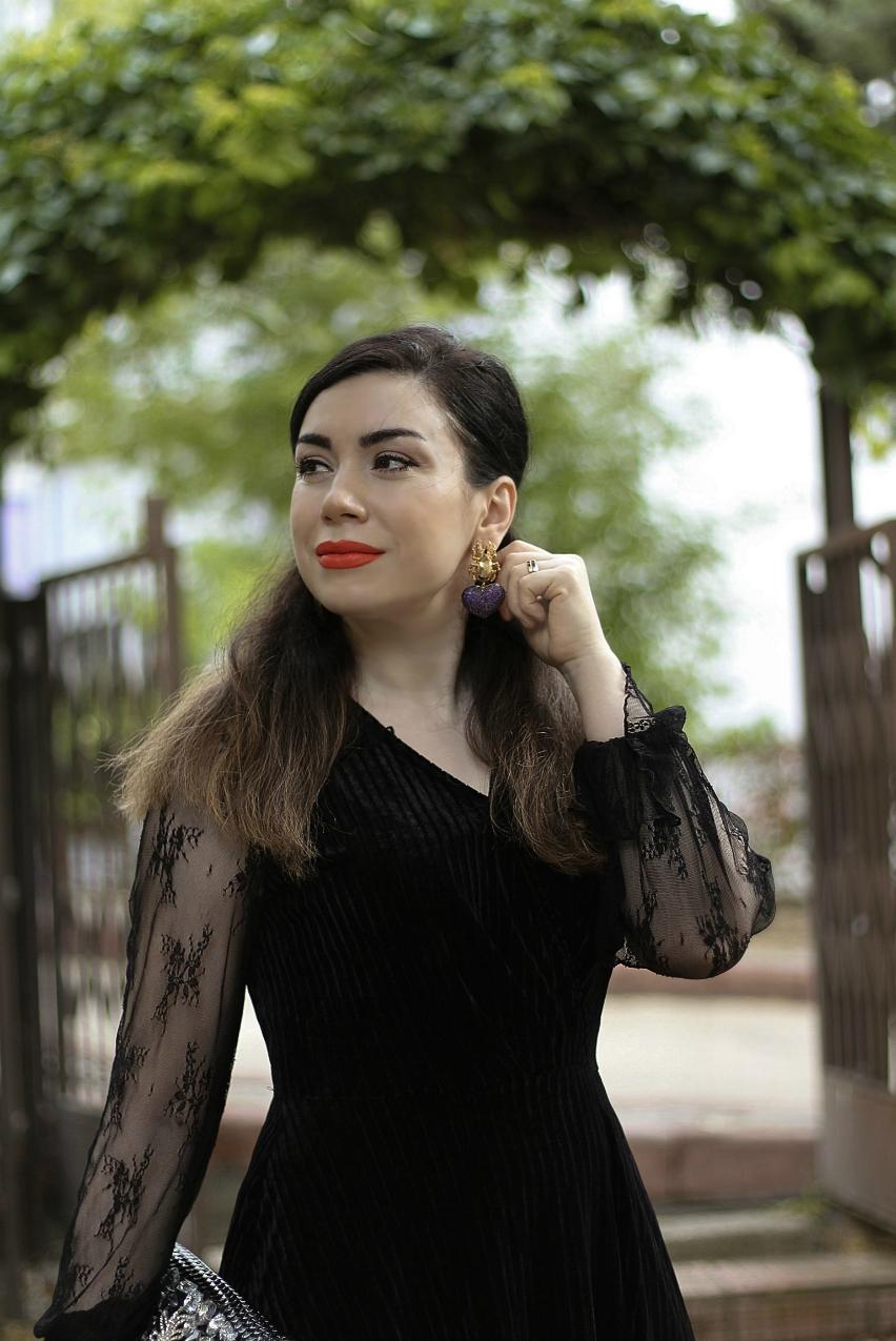 alışveriş-Shein-Siyah Dantel Kadife Elbise-moda blogu-fashion blogger