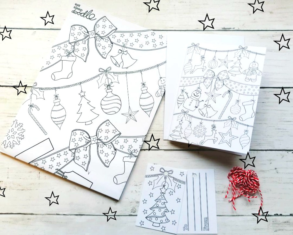 Colour In Christmas Craft Activity Pack Eat Sleep Doodle
