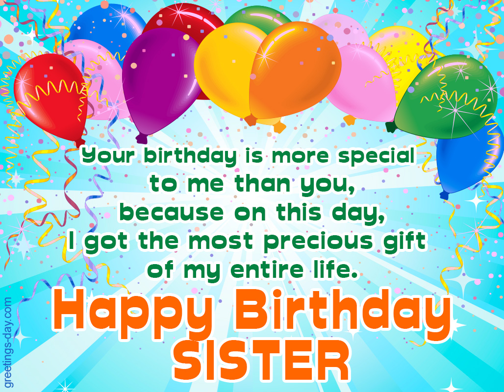 birthday greetings for sister