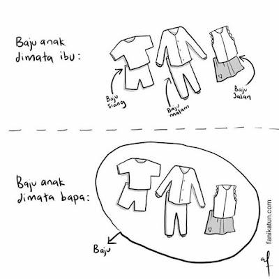 baju anak, tips keibubapaan, pandangan berbeza ibu dan ayah