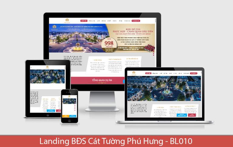 Landing bất động sản Blogspot Cát Tường Phú Hưng đẹp như mơ, layout 1 cột.