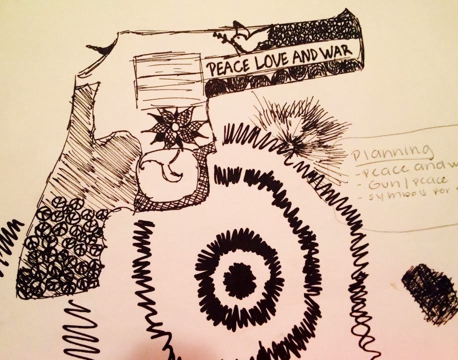 The Theme Two In One Means To Mix Opposite Things Together My Project I Drew A Gun Represent War And Flowers Peace Signs