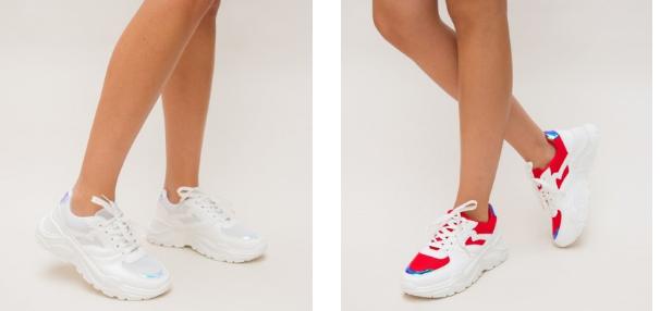 Adidasi fashion moderni de dama colectia 2019 albi, rosii