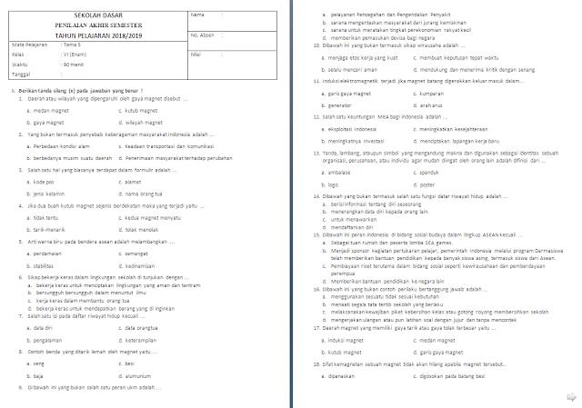 Soal Semester Kelas 6 Tema 5