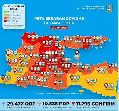 COVID-19 - Update situasi Jawa Timur per hari Senin, 29 Juni 2020