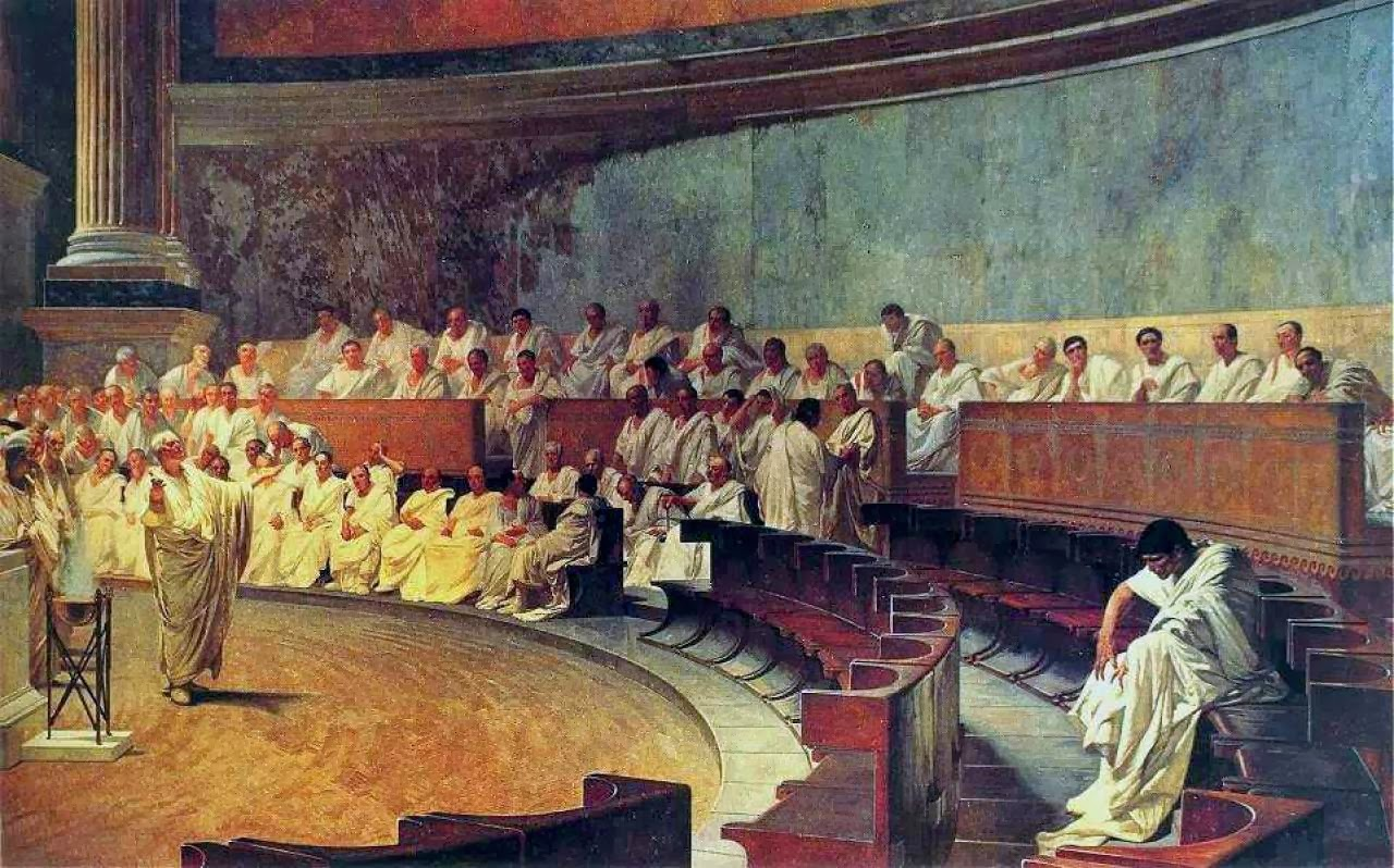Cicero denounces Cataline in the Senate painting by Maccari