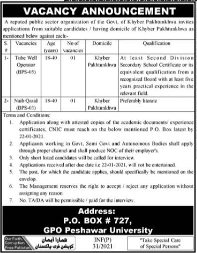 Latest Public Sector Organization Posts Peshawar 2021