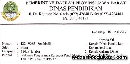 Kalender Pendidikan Provinsi Jawa Barat Tahun 2019/2020