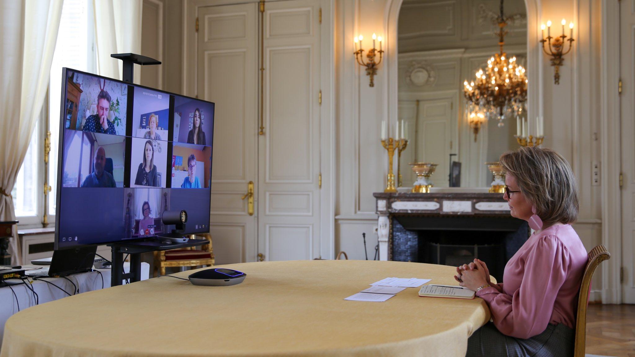 Belgium Queen Mathilde held multiple virtual calls at the Royal Palace. The Queen has a virtual conversation with representatives of various 'Centers Psycho-Médico-Sociaux'