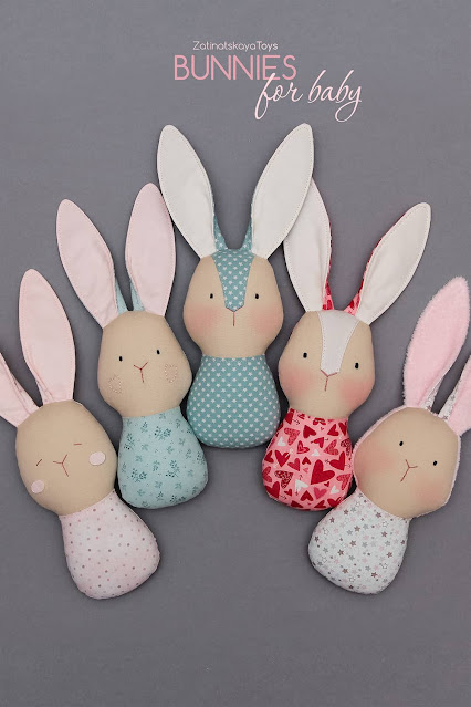 5 handmade baby stuffed bunnies