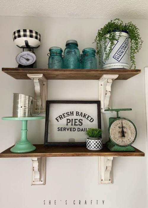 open shelves with distressed corbels and reclaimed wood, easy reclaimed wood shelving