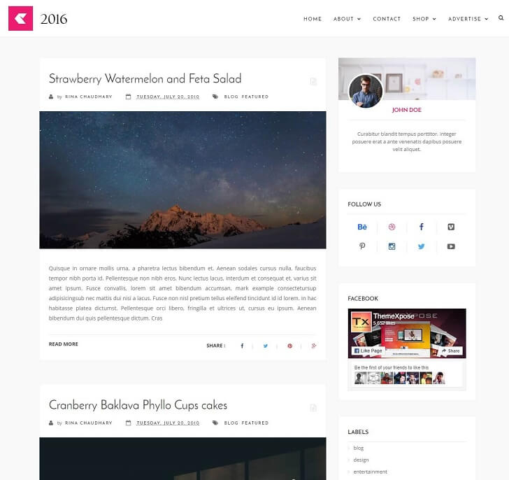 Тема WordPress Стил 2016 За Blogger
