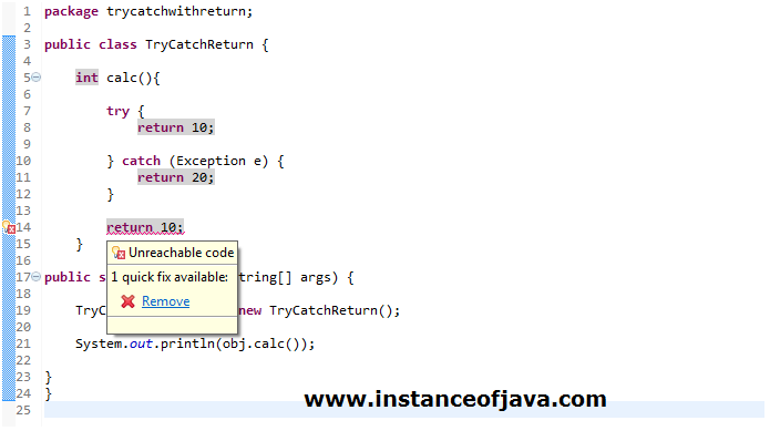 try catch with return statement in java