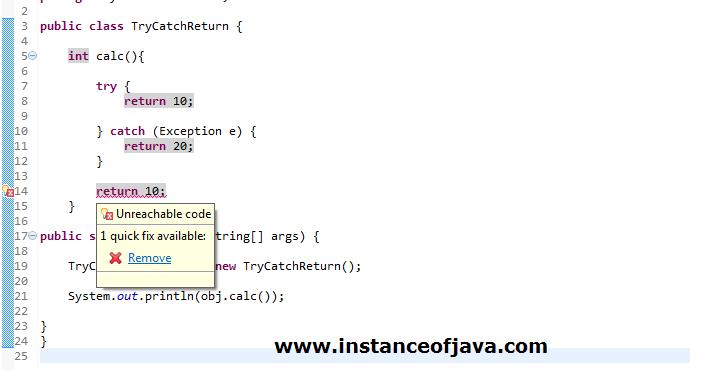 Return statement in try catch block java - InstanceOfJava