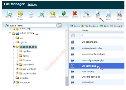 membuka file wp-config.php