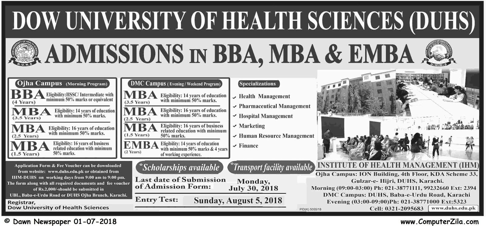 Dow University of Health Sciences Admissions Fall 2018