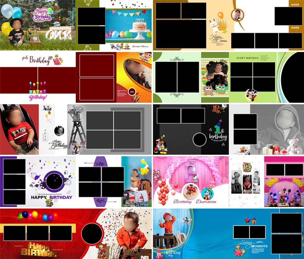 Birthday Photo Album 12x36 PSD Templates