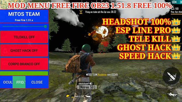 MOD MENU APK FREE FIRE OB23 1.51.8 FREE - AUTO HEAD SHOT 100%, ESP LINE PRO, TELE KILL, GHOST HACK.