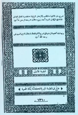 شرح متن الالفية الملقب بالازهار الزينية , pdf