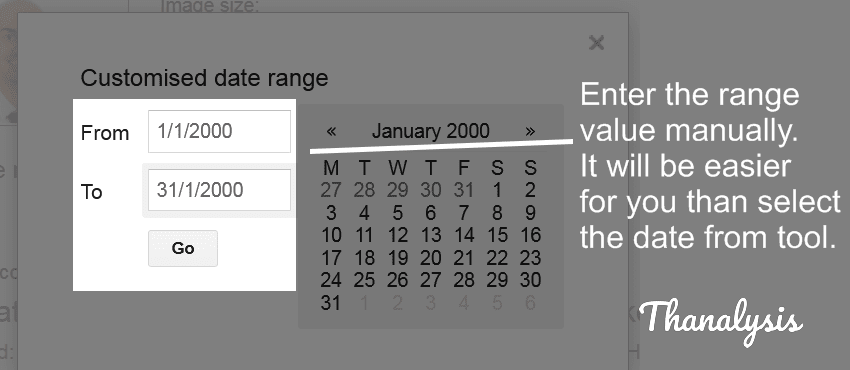Enter the time range in the input fields.