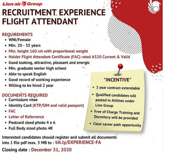 Lowongan Kerja Lion Air group Tingkat SMA Sederajat Bulan Desember 2020