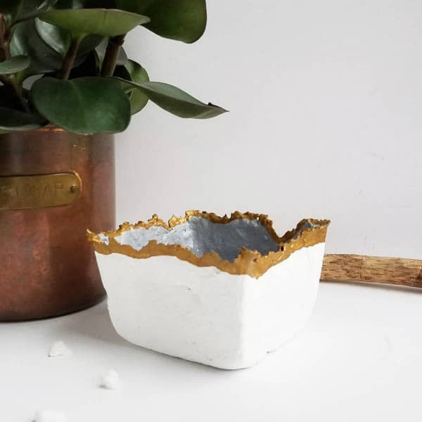 paper pulp square white, silver, and gold trinket dish