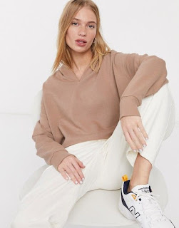 ASOS DESIGN oversized boxy crop hoodie with drop neck in brown