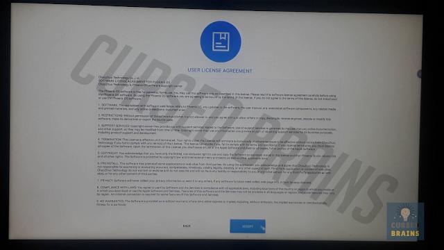 Phoenix OS  - 'User License Agreement' click accept
