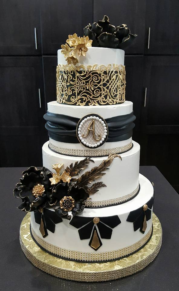 black white gold wedding cake black and gold wedding cake 11906