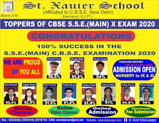 #ST._XAVIER_SCHOOL (AFFILIATED TO C.B.S.E. NEW DELHI) #JAUNPUR U.P.   #TOPPERS_OF_CBSE S.S.E. (MAIN) X #EXAM_2020   #CONGRATULATIONS    #NayaSaveraNetwork